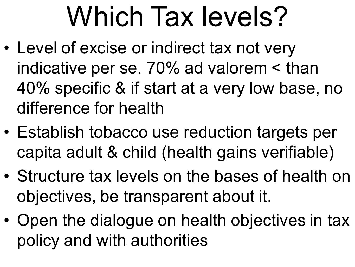 Which Tax levels