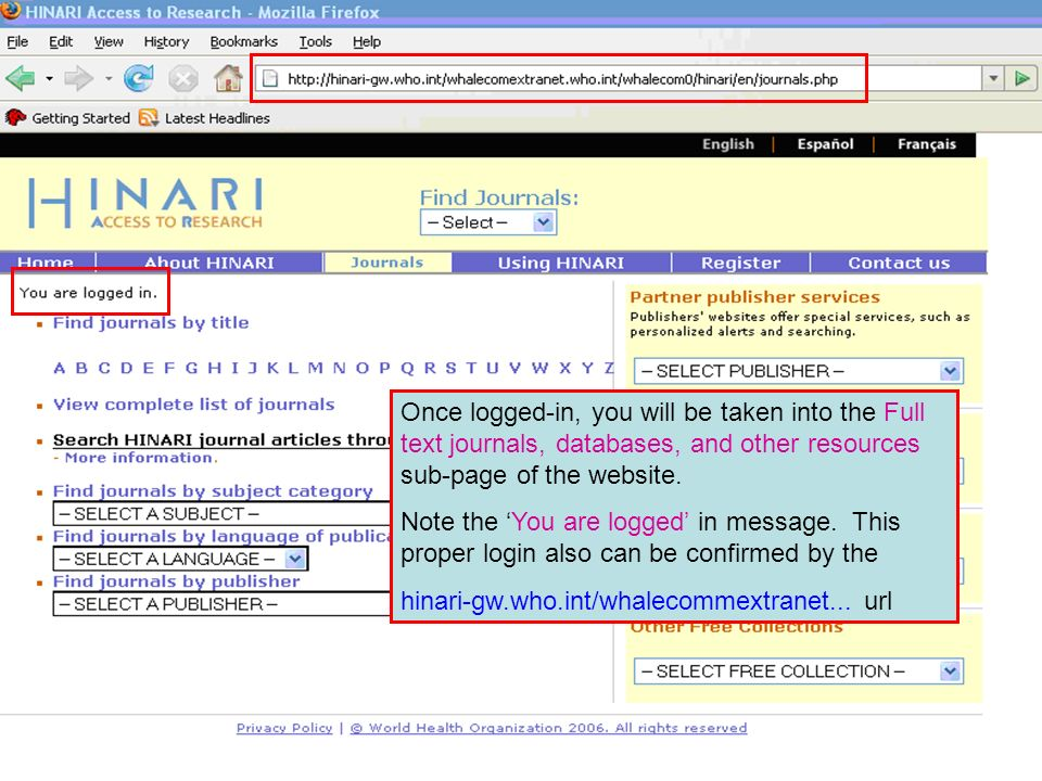 Once logged-in, you will be taken into the Full text journals, databases, and other resources sub-page of the website.