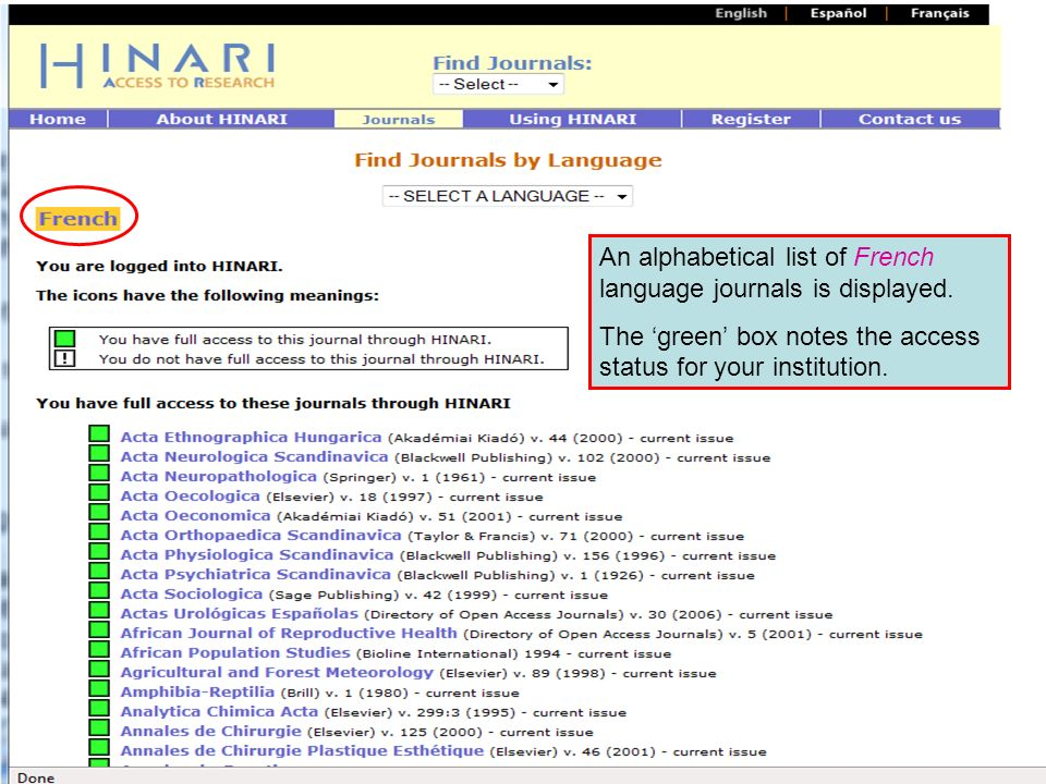 Accessing journals by Language continued