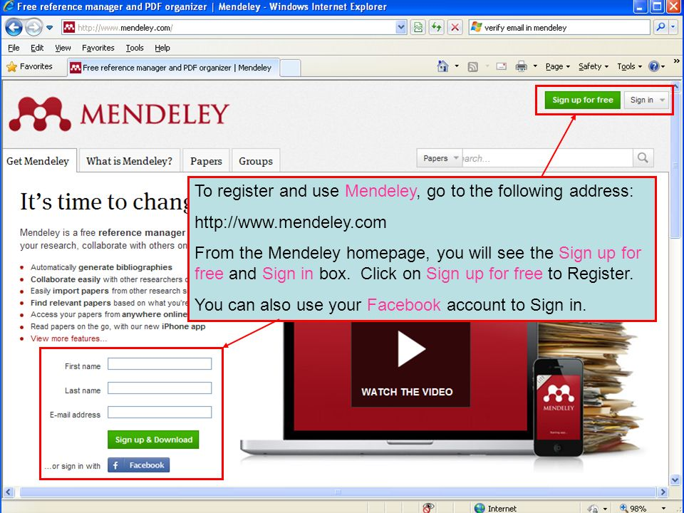 To register and use Mendeley, go to the following address: