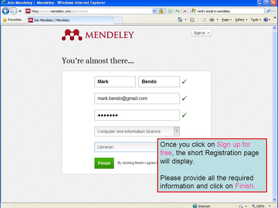 Once you click on Sign up for free, the short Registration page will display.