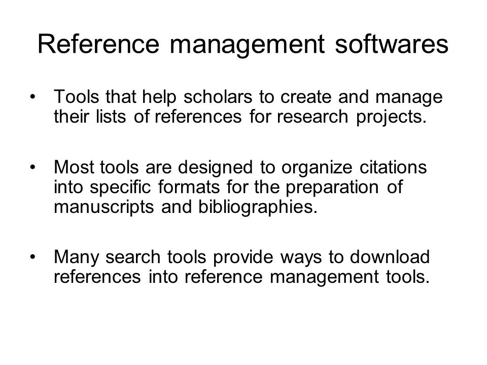 Reference management softwares
