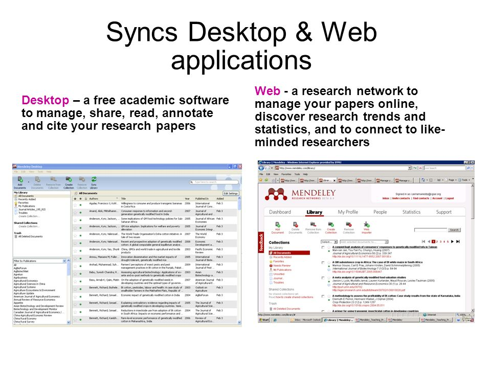 Syncs Desktop & Web applications