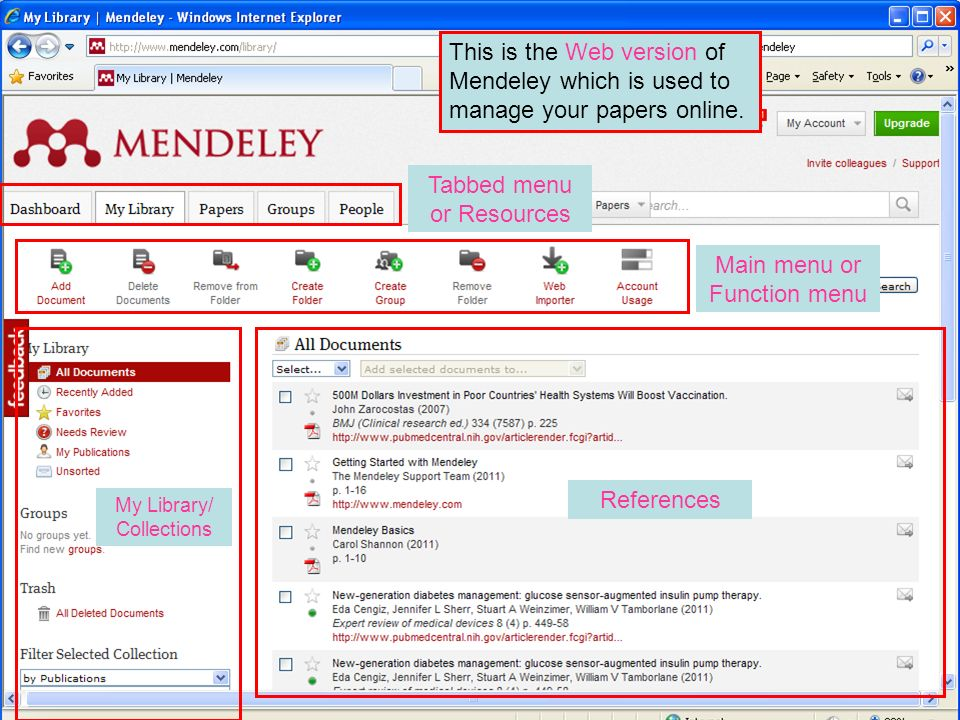 Tabbed menu or Resources