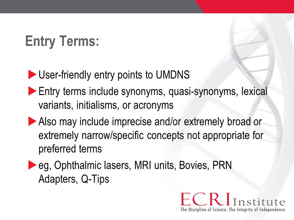 Entry Terms: User-friendly entry points to UMDNS