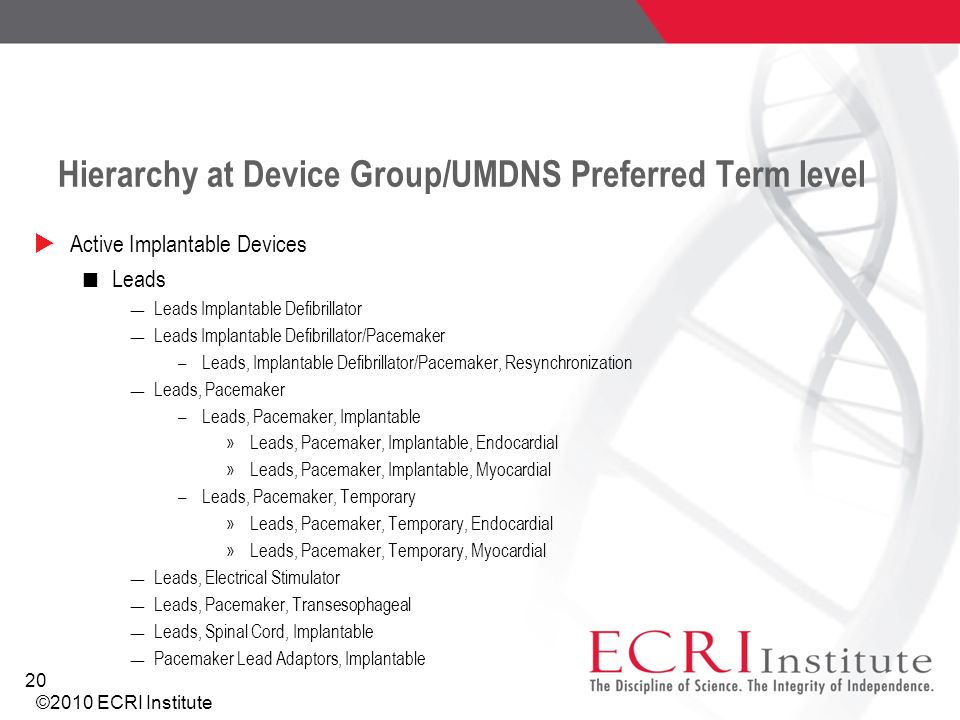 Hierarchy at Device Group/UMDNS Preferred Term level