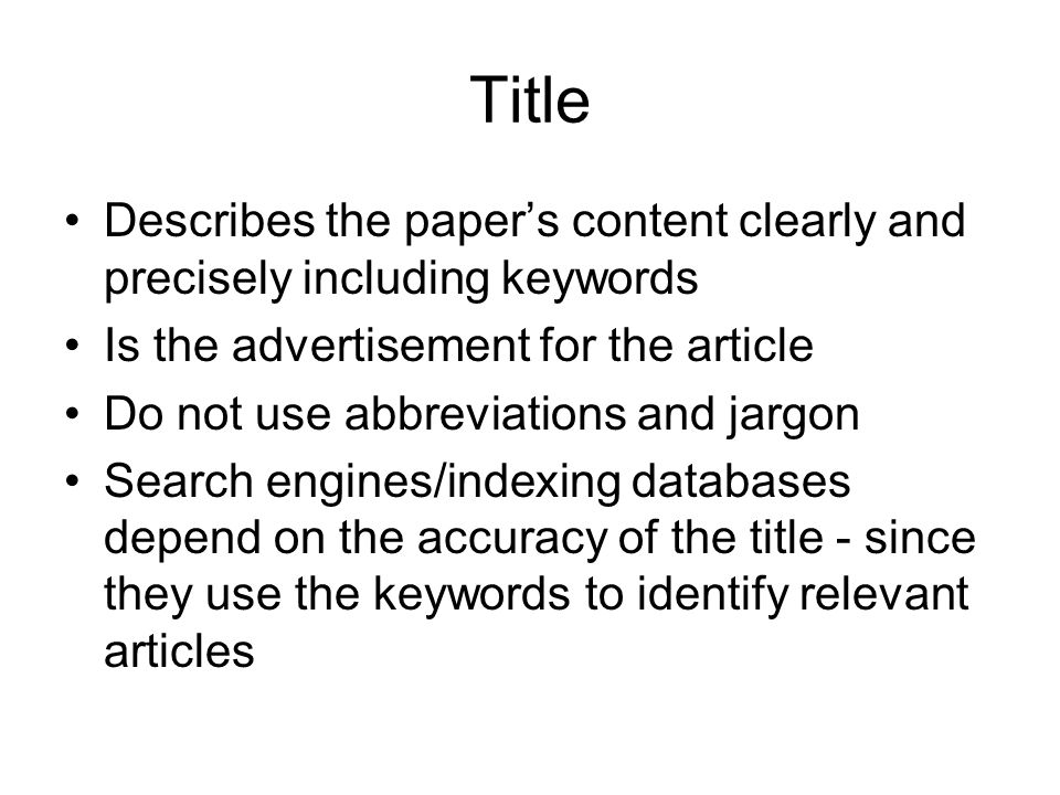 TitleDescribes the paper's content clearly and precisely including keywords. Is the advertisement for the article.