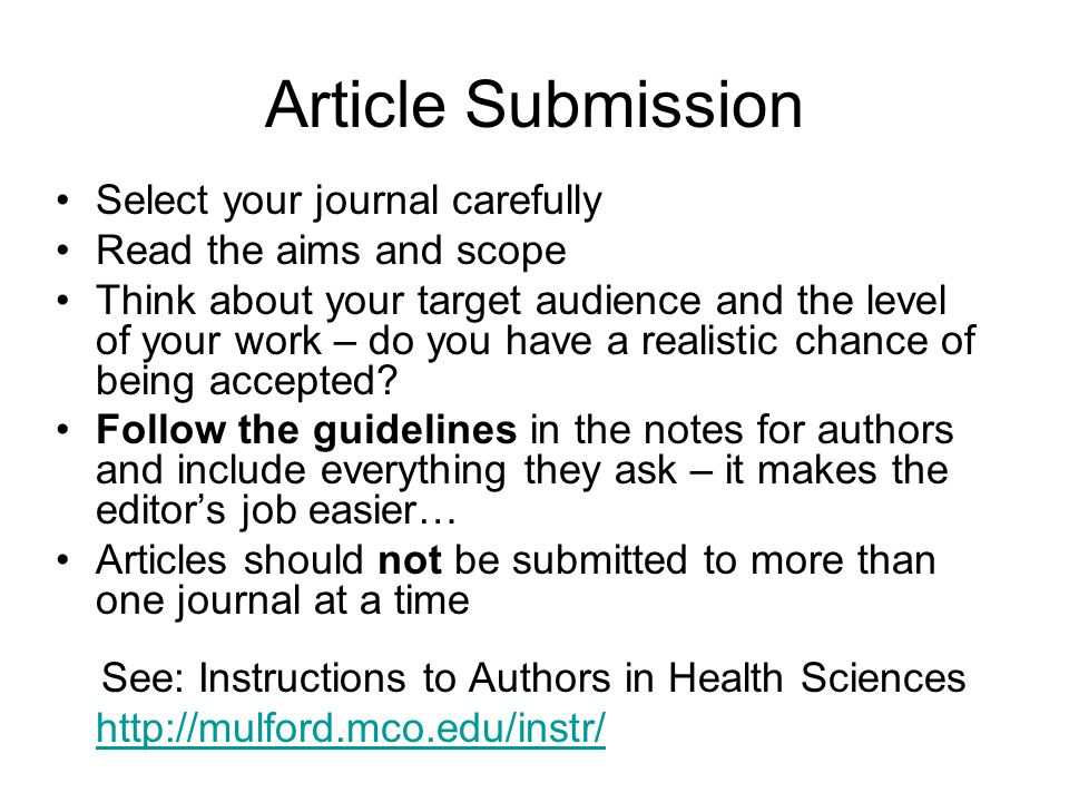 Article Submission Select your journal carefully