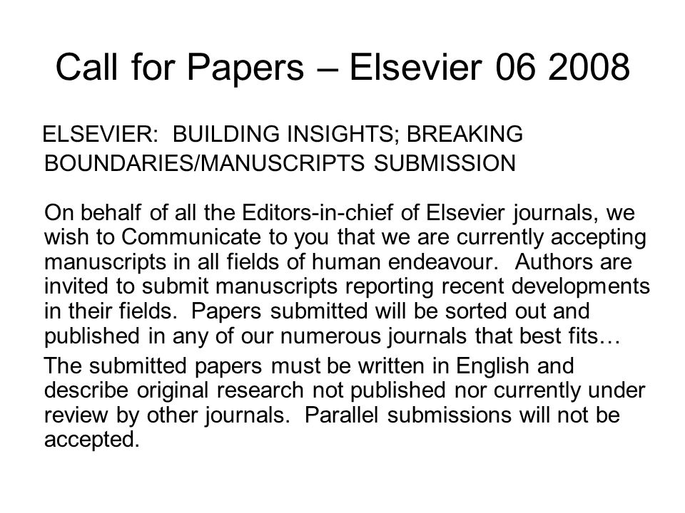 Call for Papers – Elsevier 06 2008