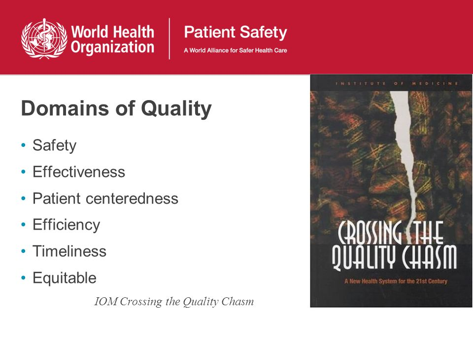 Domains of Quality Safety Effectiveness Patient centeredness