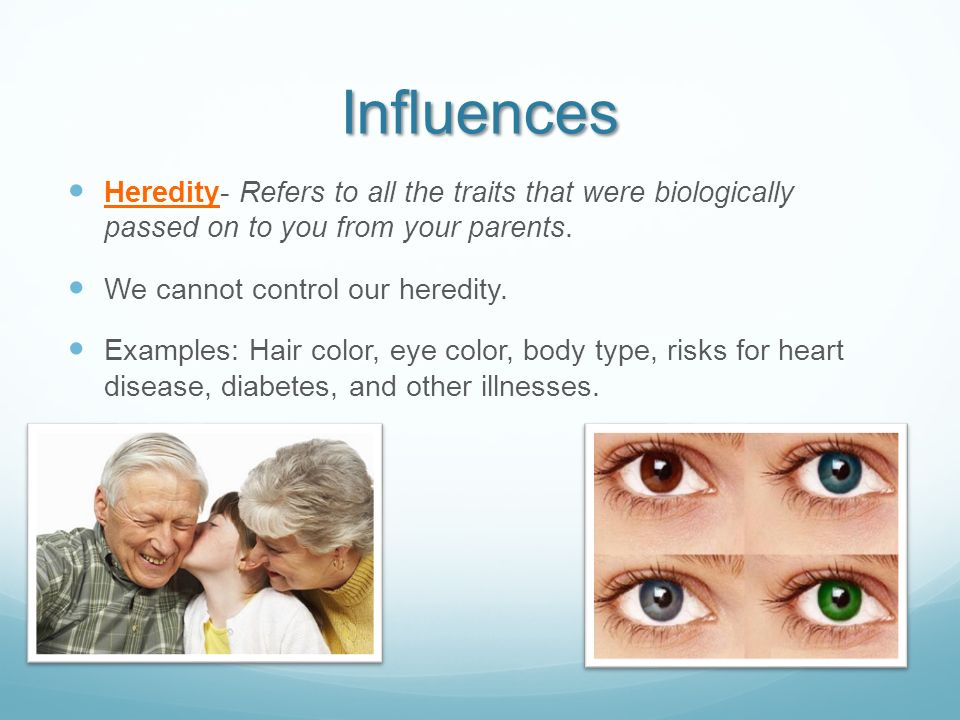 Influences Heredity- Refers to all the traits that were biologically passed on to you from your parents.