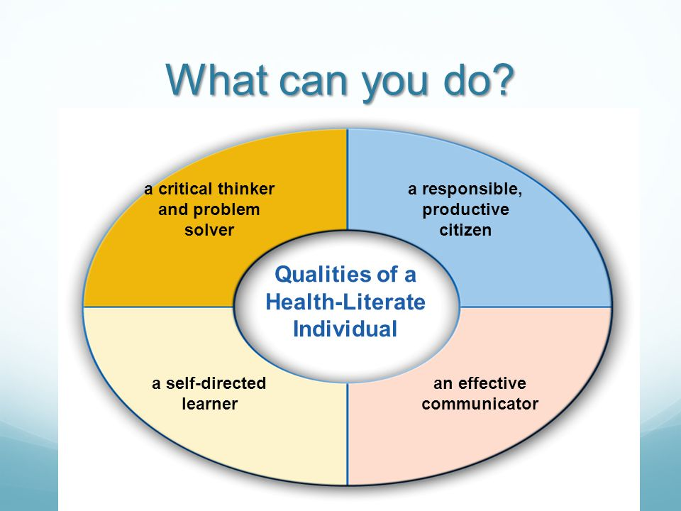What can you do Qualities of a Health-Literate Individual