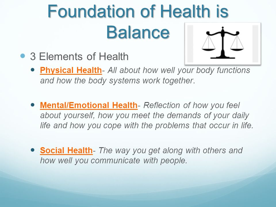 Foundation of Health is Balance