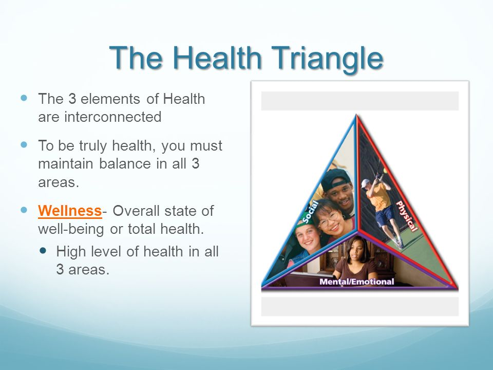 The Health Triangle The 3 elements of Health are interconnected