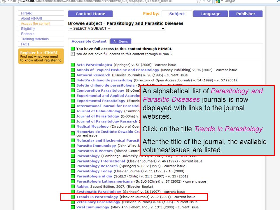 An alphabetical list of Parasitology and Parasitic Diseases journals is now displayed with links to the journal websites.