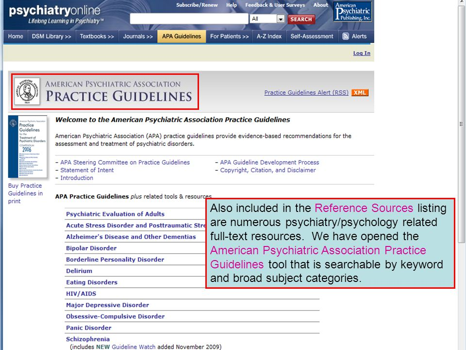 Also included in the Reference Sources listing are numerous psychiatry/psychology related full-text resources.