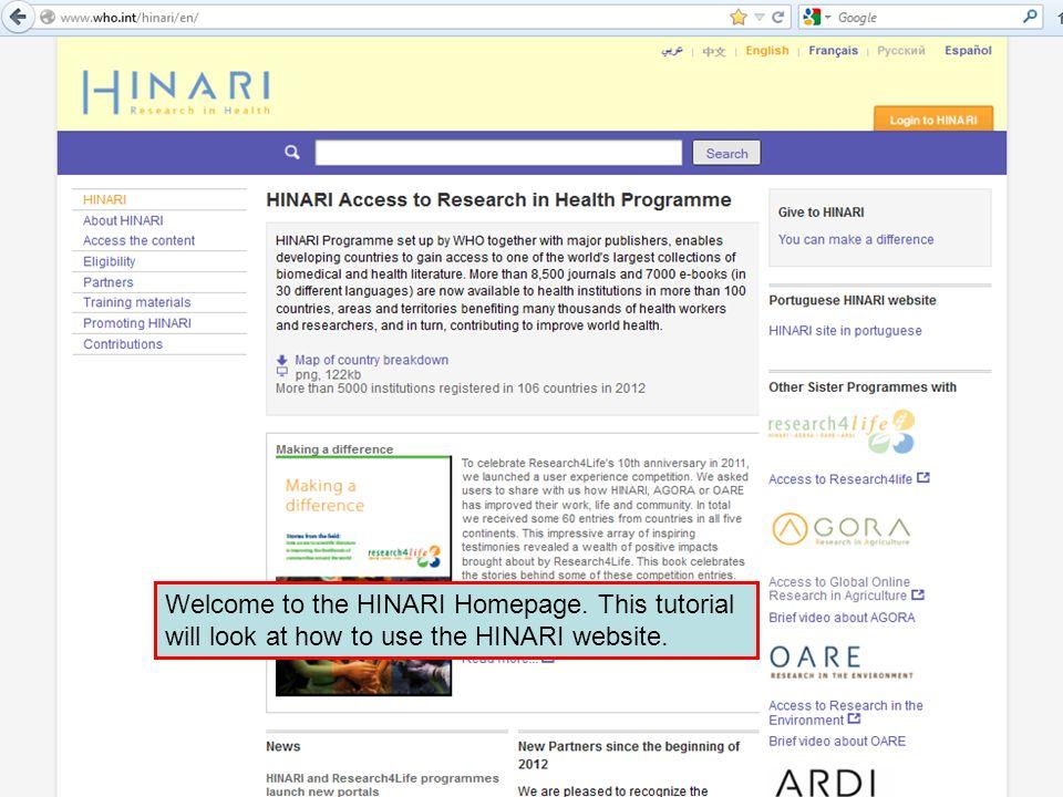 Welcome to the HINARI Homepage