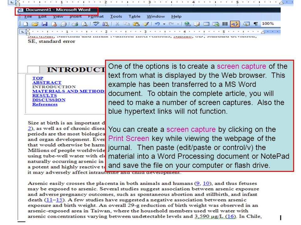 One of the options is to create a screen capture of the text from what is displayed by the Web browser. This example has been transferred to a MS Word document. To obtain the complete article, you will need to make a number of screen captures. Also the blue hypertext links will not function.