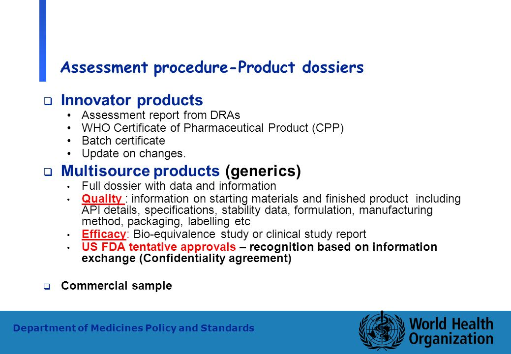 Assessment procedure-Product dossiers