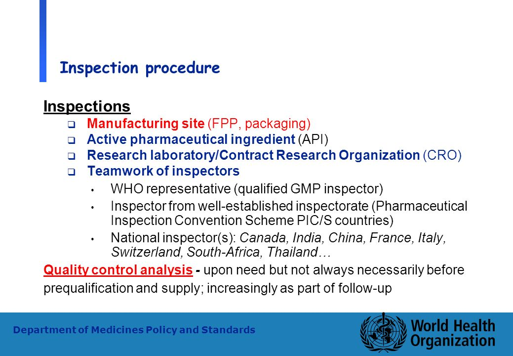 Inspection procedure Inspections Manufacturing site (FPP, packaging)