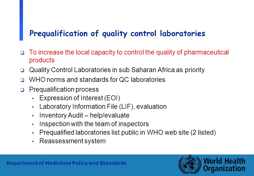 Prequalification of quality control laboratories
