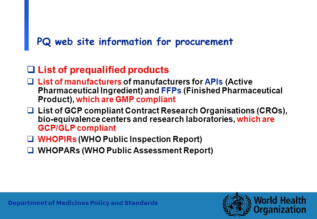 PQ web site information for procurement