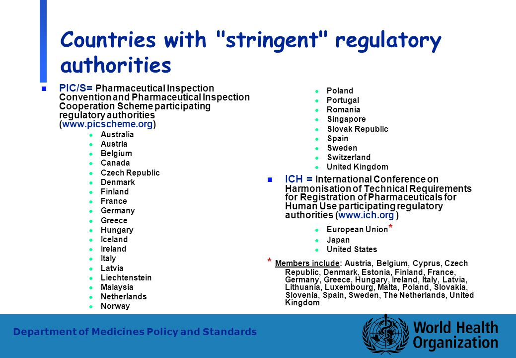 Countries with stringent regulatory authorities