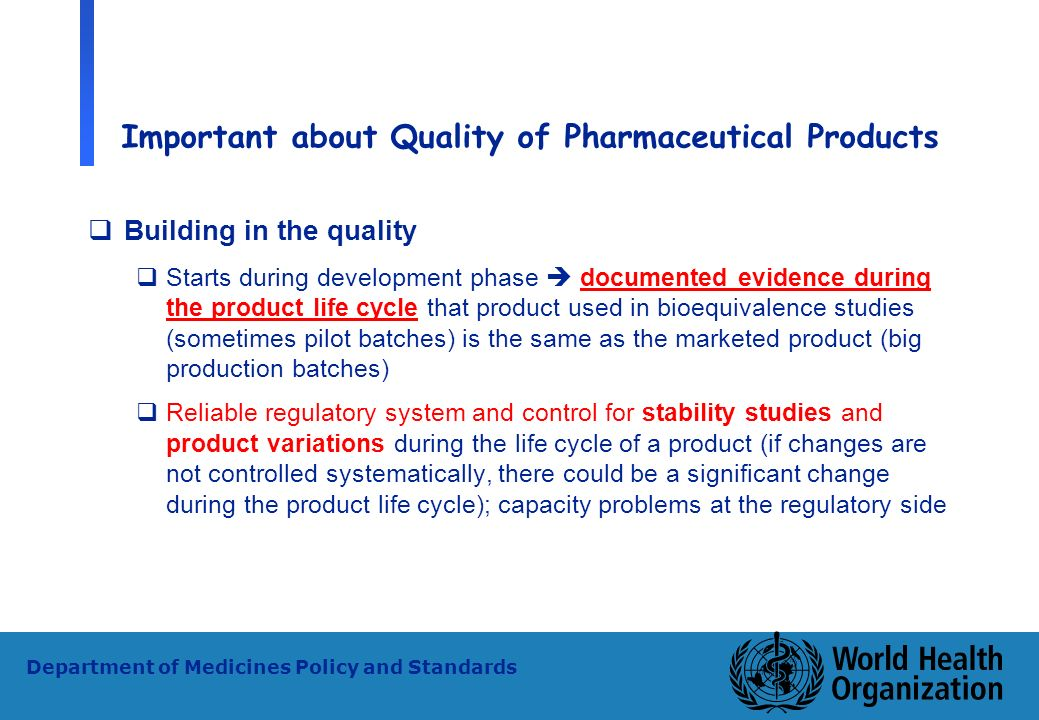 Important about Quality of Pharmaceutical Products