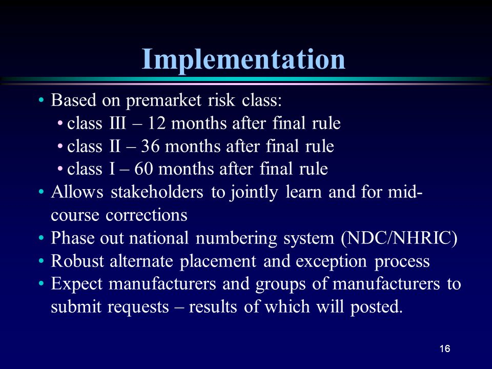 Implementation Based on premarket risk class: