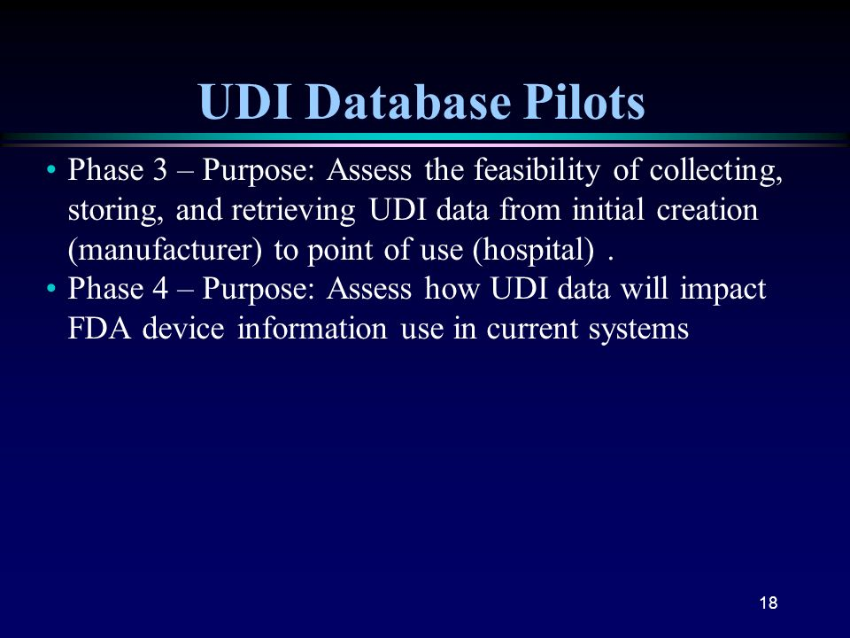 UDI Database Pilots