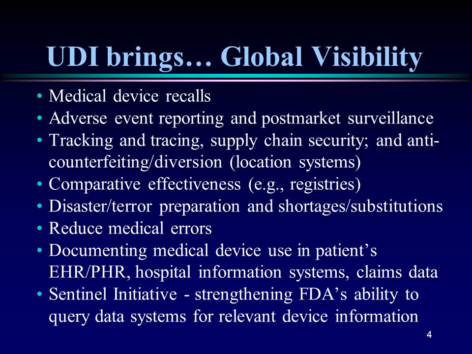 UDI brings… Global Visibility
