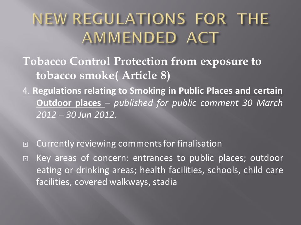 NEW REGULATIONS FOR THE AMMENDED ACT