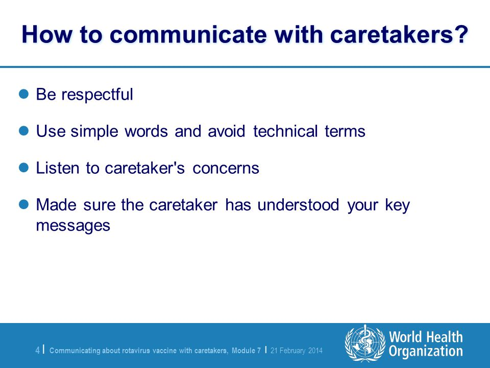 How to communicate with caretakers