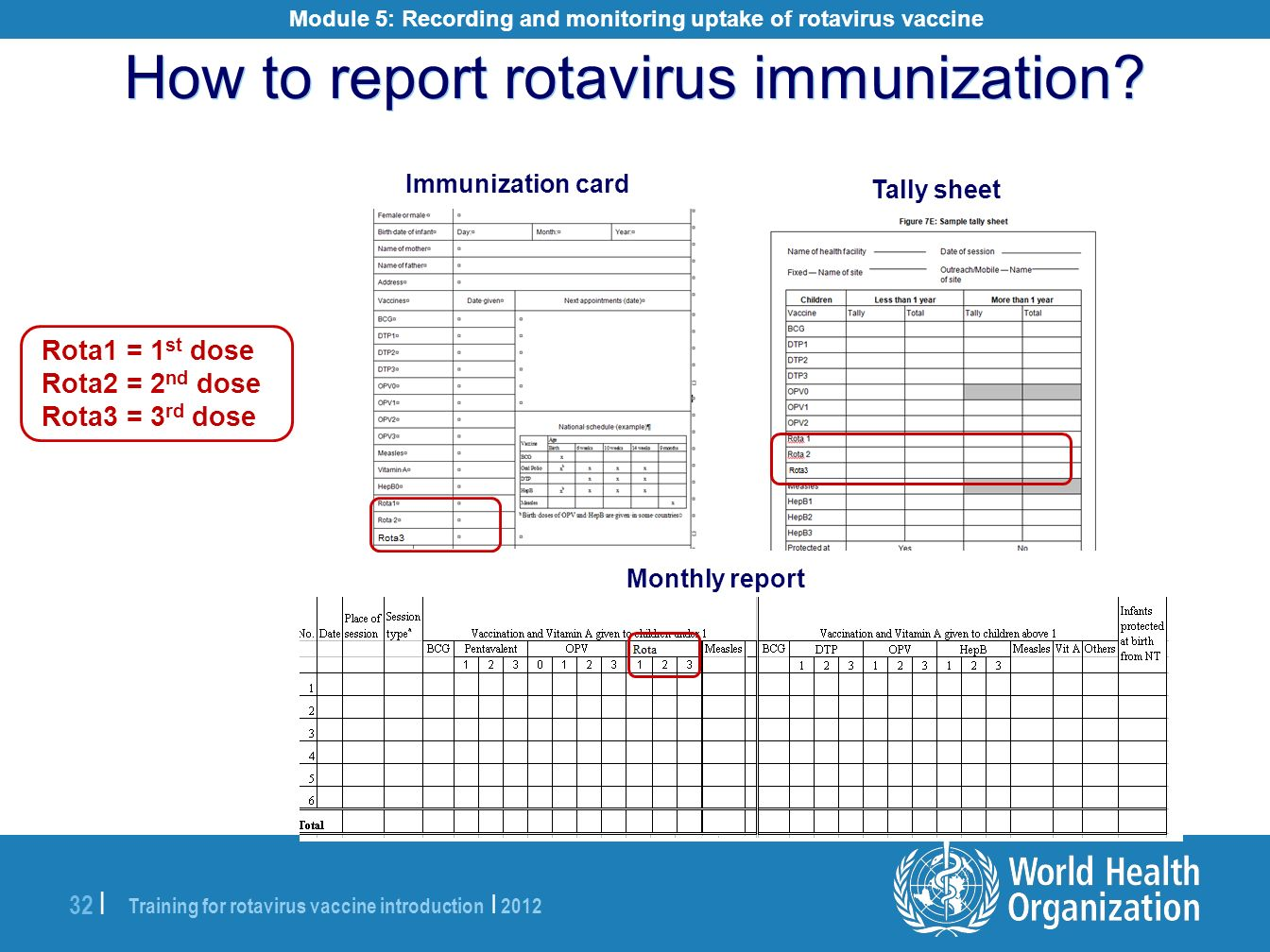 Module 5: Recording and monitoring uptake of rotavirus vaccine