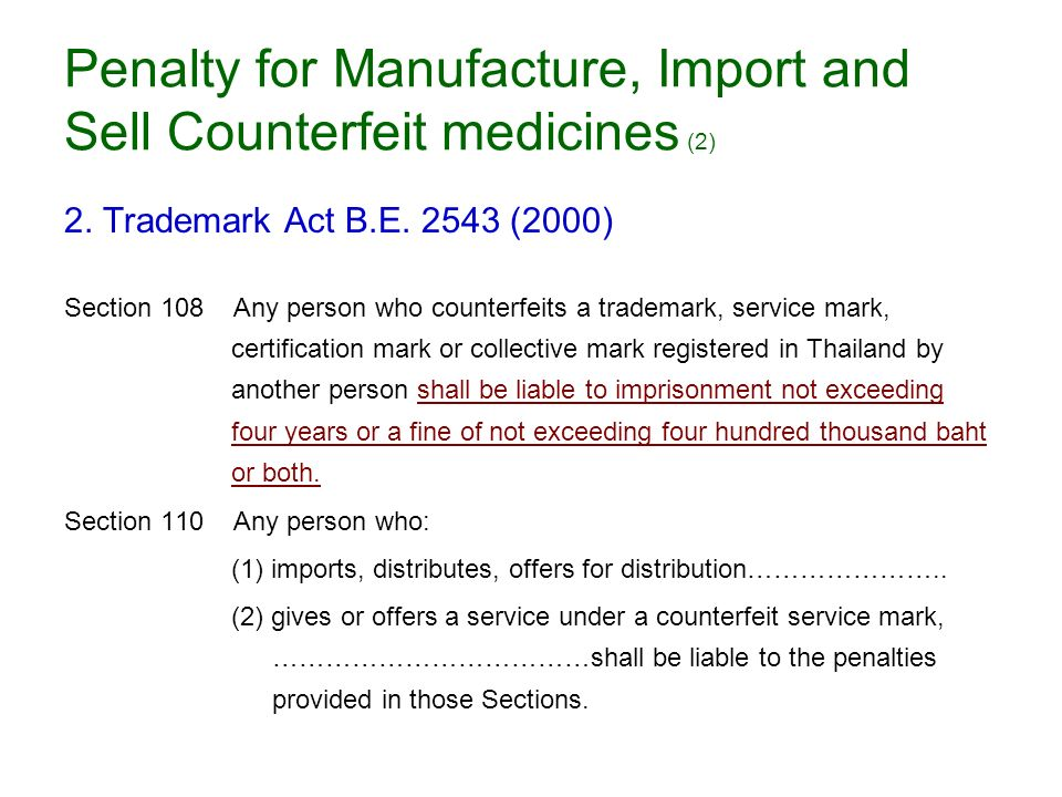 Penalty for Manufacture, Import and Sell Counterfeit medicines (2)