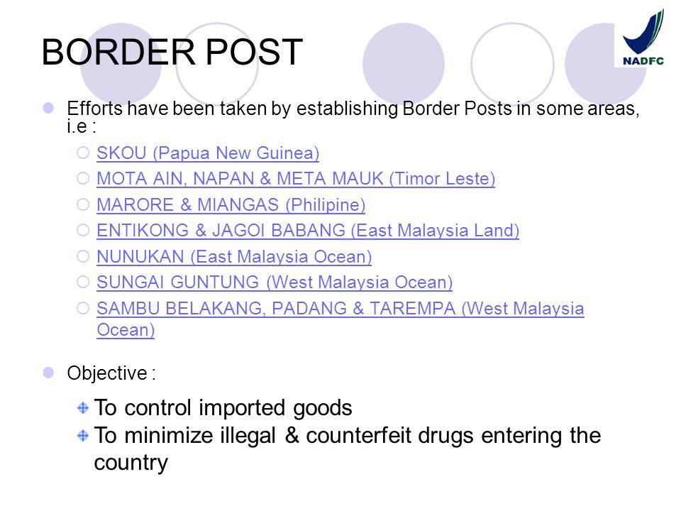 BORDER POST To control imported goods
