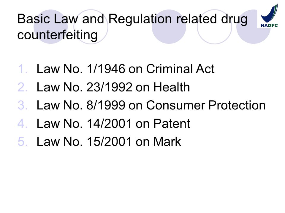 Basic Law and Regulation related drug counterfeiting