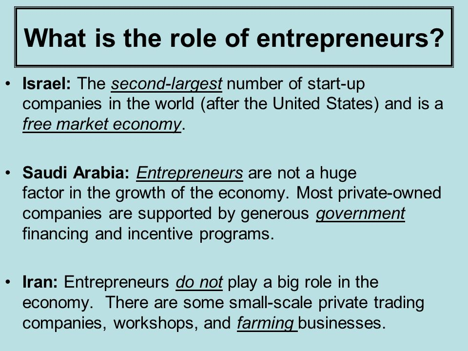 What is the role of entrepreneurs