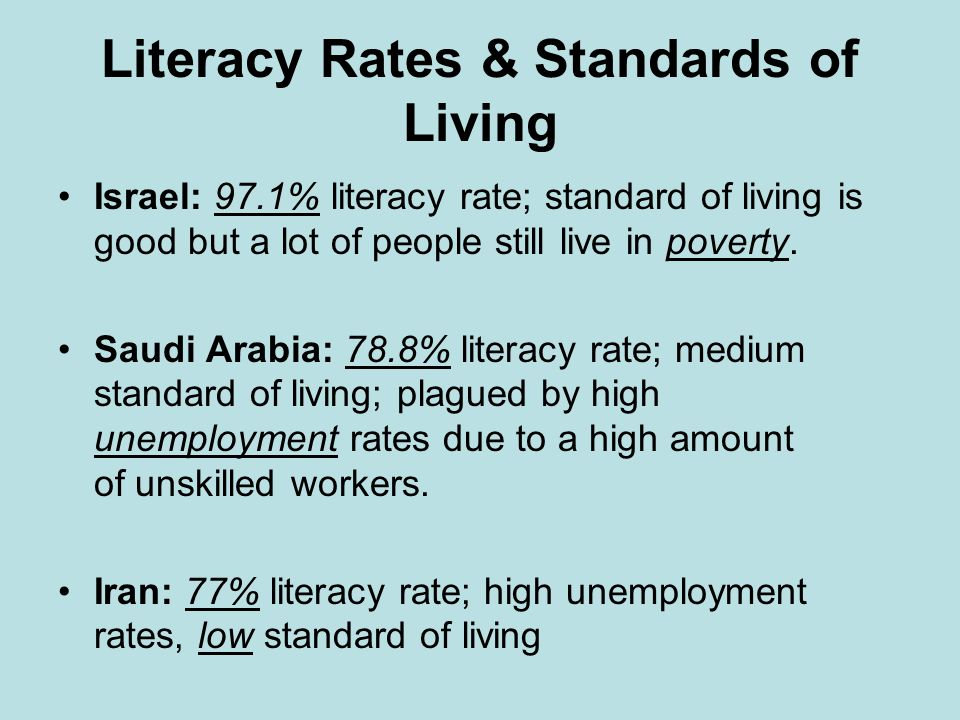 Literacy Rates & Standards of Living