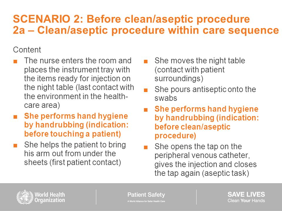 SCENARIO 2: Before clean/aseptic procedure 2a – Clean/aseptic procedure within care sequence