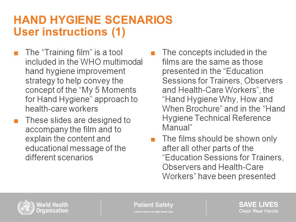 HAND HYGIENE SCENARIOS User instructions (1)