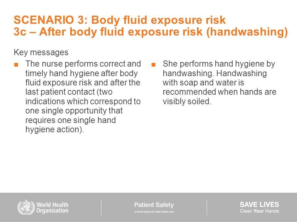 SCENARIO 3: Body fluid exposure risk 3c – After body fluid exposure risk (handwashing)