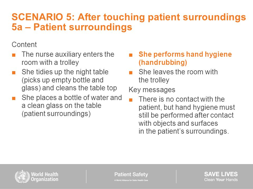 SCENARIO 5: After touching patient surroundings 5a – Patient surroundings