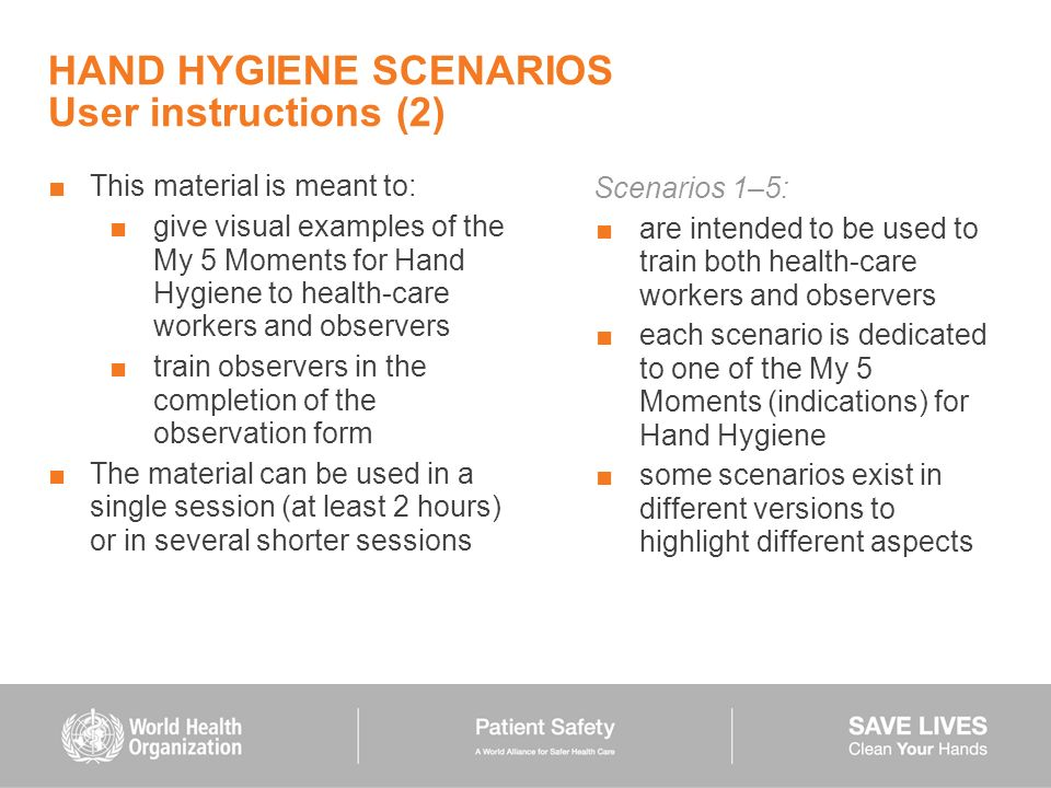 HAND HYGIENE SCENARIOS User instructions (2)
