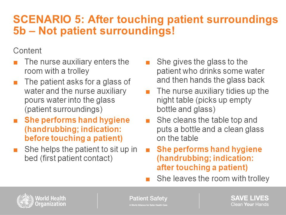 SCENARIO 5: After touching patient surroundings 5b – Not patient surroundings!