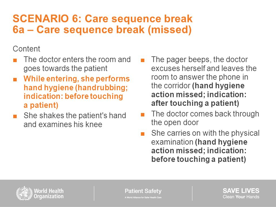 SCENARIO 6: Care sequence break 6a – Care sequence break (missed)