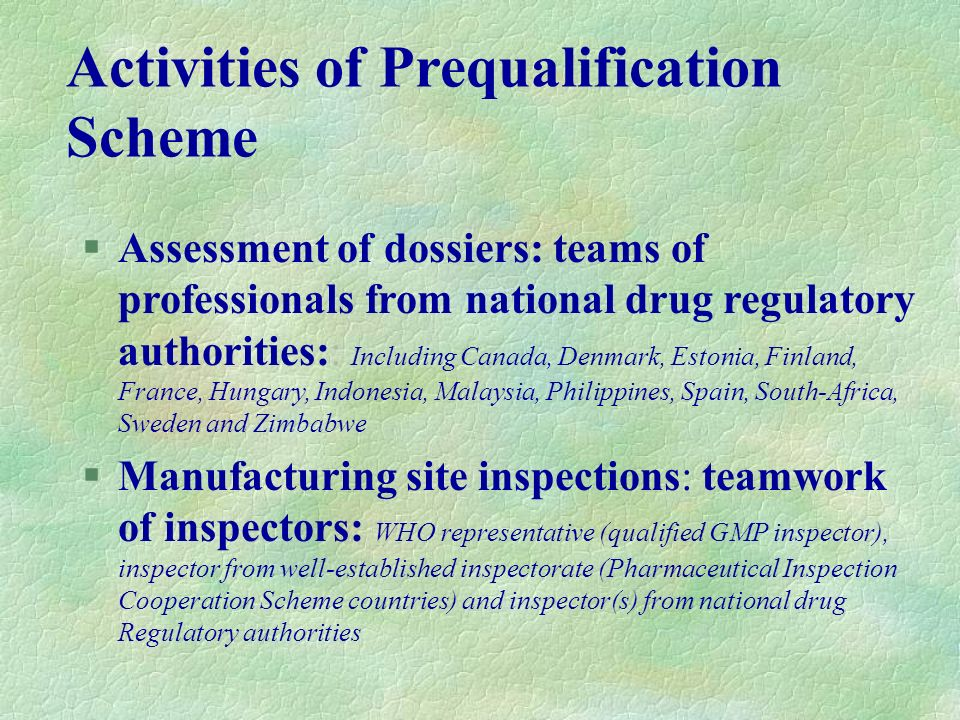 Activities of Prequalification Scheme