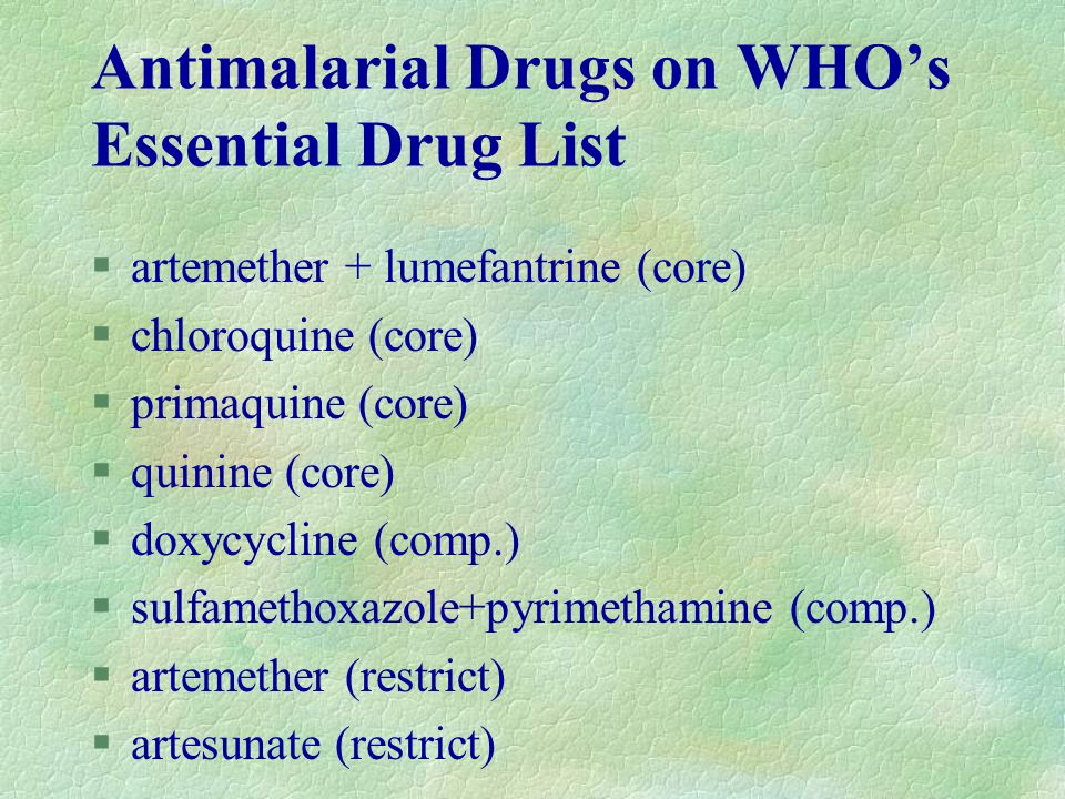 Antimalarial Drugs on WHO's Essential Drug List