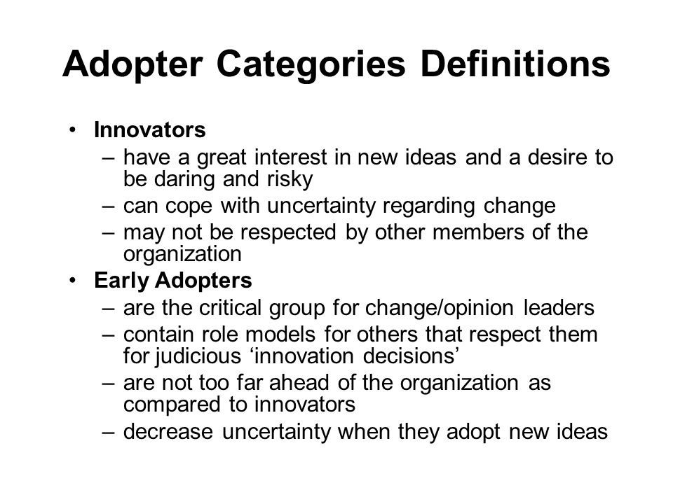 Adopter Categories Definitions