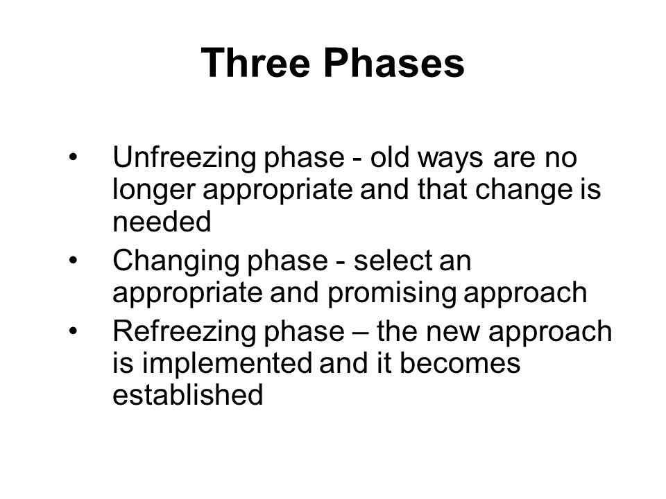 Three Phases Unfreezing phase - old ways are no longer appropriate and that change is needed.